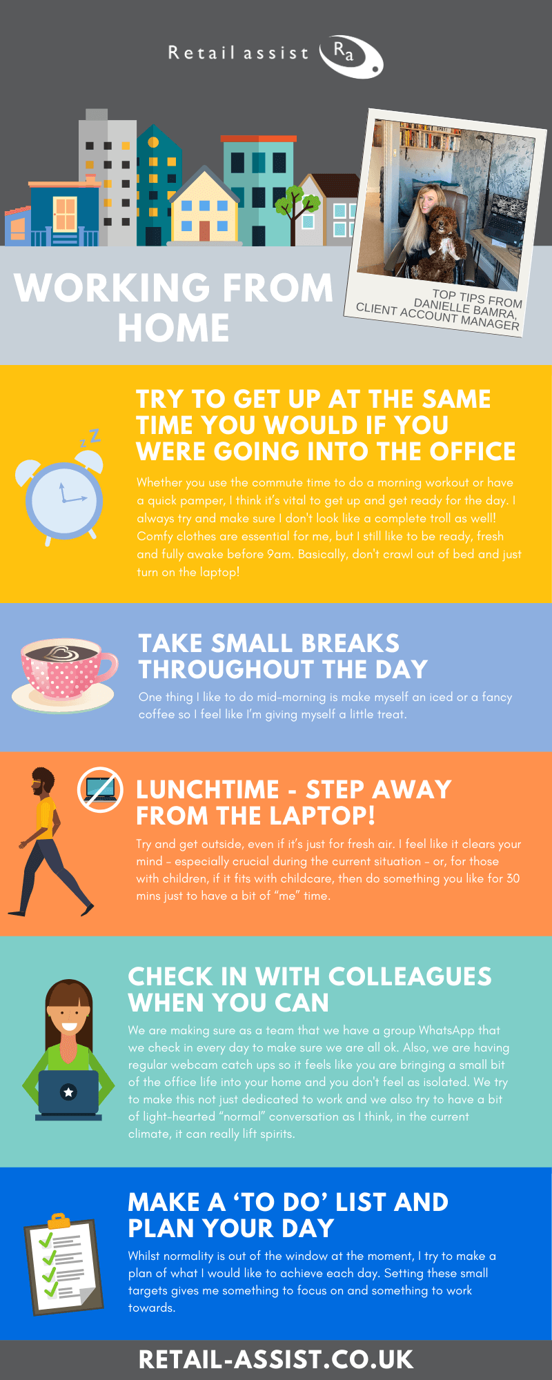 Working from home top tips infographic